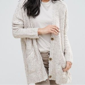 Free People Slouch Boucle Cardigan Oatmeal Small